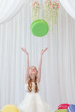 Girl holding macaroons Royalty Free Stock Image