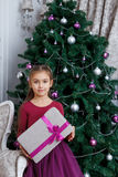Girl holding magenta gift-box under christmas tree Royalty Free Stock Photos