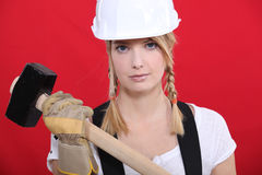 Girl holding mallet Royalty Free Stock Photo