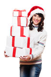 Girl holding many boxes of presents Royalty Free Stock Photo