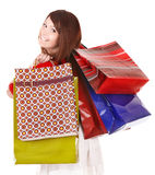 Girl holding many shopping bags Stock Image