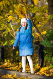 Girl holding maple leaves Stock Image
