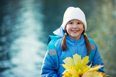 Girl holding maple leaves Royalty Free Stock Image