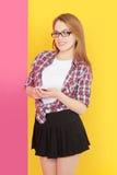 Girl holding  mobile phone Stock Image