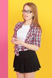 Girl holding  mobile phone Royalty Free Stock Photos
