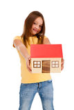 Girl holding model of house isolated on white Stock Photography