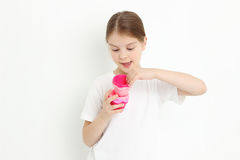 Girl holding molds Stock Photo