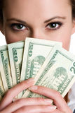 Girl Holding Money Stock Images
