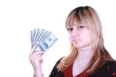 Girl holding money Stock Image