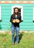 Girl holding mushrooms Royalty Free Stock Photos