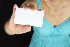 Girl holding name card Royalty Free Stock Photo