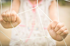 Girl holding net selective and soft focus stock images