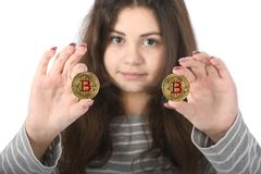 Girl holding new cryptocurrency stock images