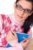 Girl holding notebook Royalty Free Stock Photos
