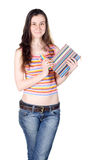 Girl holding notebook and pencils Royalty Free Stock Photos
