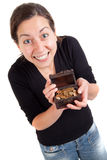 Girl holding old antique treasure chest with gold coins Royalty Free Stock Photography
