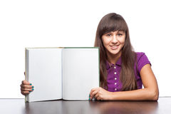 Girl holding open book Stock Photo