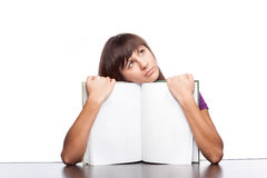 Girl holding open book Stock Photos