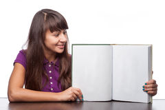 Girl holding open book Royalty Free Stock Photography