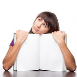 Girl holding open book Royalty Free Stock Photos