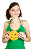 Girl Holding Orange Happiness Smile Stock Photo
