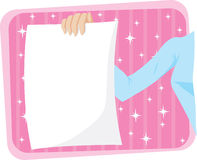 Girl holding page/flyer Royalty Free Stock Image