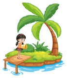 A girl holding a pail above the wooden diving board Stock Image
