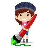 Girl holding Paint brush Royalty Free Stock Image