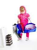Girl holding paper bags stock photo