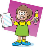 Girl holding a paper and pencil Stock Photos