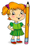 Girl holding a pencil. Vector illustration of little girl holding a pencil Stock Photography