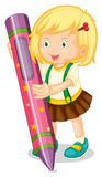 A girl holding pencil Stock Photos