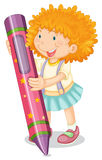 A girl holding pencil Stock Image