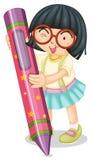 A girl holding pencil Stock Photos