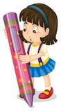 A girl holding pencil Royalty Free Stock Photos