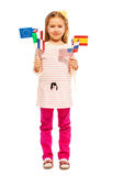 Girl holding pennants of European nations and USA Stock Image