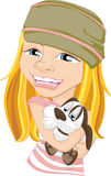 Girl Holding Pet Dog Royalty Free Stock Image