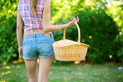 Girl holding a picnic basket Royalty Free Stock Photography
