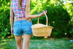 Girl holding a picnic basket Stock Image