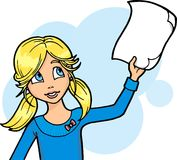 Girl holding a piece of paper. A blond young girl holding a piece of paper, a Christmas wish list, or an announcement, or a grade mark. Page is left blank for Stock Photography