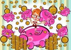Girl holding piggy bank Royalty Free Stock Photo