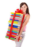 Girl holding pile of  book. Royalty Free Stock Photos
