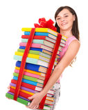 Girl holding pile of book. Royalty Free Stock Photo
