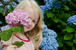 Girl holding pink flower Stock Photo