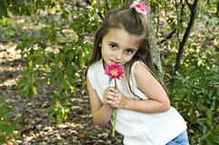 Girl holding pink flower. Little girl holding a pink flower in an outdoor setting Royalty Free Stock Photography