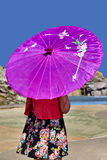 Girl Holding Pink Umbrella Royalty Free Stock Photography