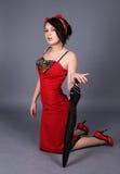 girl holding pinup umbrella Στοκ Φωτογραφία