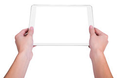 Girl holding a plate. Girl holding a white plate royalty free stock image