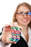Girl holding poker chips Royalty Free Stock Image