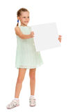 Girl holding a poster Royalty Free Stock Images